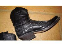 Men's black leather cowboy boots, size 42