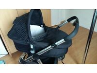 icandy limited edition pram with carry cot, push chair and rain covers.