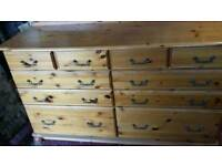 Large ten drawer chest of drawers