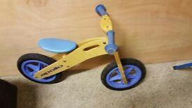 Boys blue balance bike