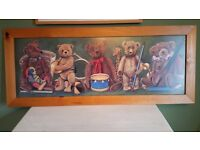 Large framed picture of the teddy bear orchestra