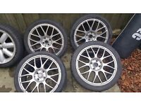 "17"" alloy wheels Pretty much 3 new tyres as seen on pictures"