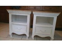 Bedside tables x2 - shabby chic, from Oak furniture land
