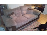 Brown cord and faux leather large 2 seater sofa