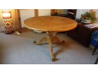 Round Pine Dining Table, 4ft Wide, To Seat 6