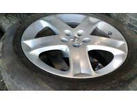 Peugeot alloys x 3, 5 stud, 215 55 17 tyres