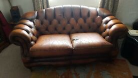 Leather Chesterfield sofa two seater