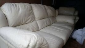 Cream Leather sofa and matching armchair