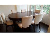 Solid wood John Lewis dining table and 8 chairs