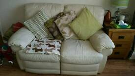 Cream leather sofa and two seater