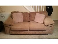Beige jumbo cord 3 seater and 2 seater sofas with storage buffet