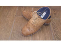 Debenhams Boys Formal Shoes Tan Brown Leather Junior Size 3