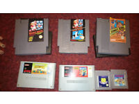 Various Mario Games for various systems. NES, Snes, Gameboy.
