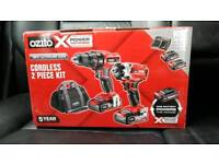 *new Sealed* *New*Ozito Power X Change 18V Cordless 2 Piece Drill Kit 18v Impact driver 2batteries