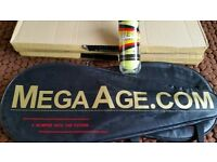 Pair of new MEGA AGE graphite Tennis rackets + 3 MEGA AGE tennis balls