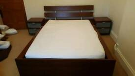 Double Low Wooden Bed with bedside tables and mattress