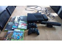 Xbox360 with kinect two wireless controllers and eight games