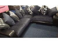Brand New!!!!!! Large corner sofa*Leather/Fabric*Black/Dark midnight blue*240 x220x 80cm*