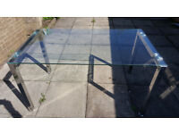 Great Condition Glass Dinning Table For Sale Chrome legs Bargain at £40.00