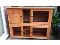 Rose Cottage 2 storey rabbit hutch with removable tray for cleaning