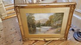 antique watercolour painting in original gilt frame