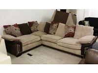NEW Graded Cream Fabric Corner Sofa Suite Jumbo Cord Fabric FREE LOCAL DELIVERY