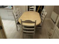 Extending Oval Table and six chair Set - Cream-White-Grey