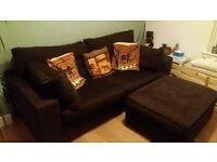 Next sofas - 3 seater and 2 seater (brown) and Ikea storage footstool (brown)