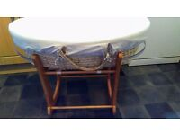 Obaby cream moses basket with rocking stand, cover and mattress