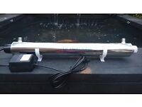 STAINLESS STEEL UV STERILISER FILTER 25W 240V POND OR AQUARIUM