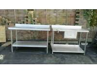 Stainless kitchen preparation tables