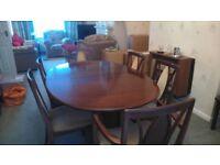 G Plan Dark Wood 6 Seater Dining Set