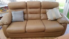 Large 3 seater brown leathef sofa