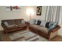 Ex-display Lawrence half tan leather and mink fabric 4+3 seater sofas