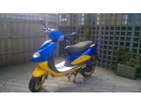 2008 TGB Hawk 50cc scooter moped low mileage striking blue + yellow paintwork