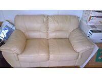 Leather 2 Seater Sofa - Cream
