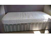 Single Divan bed with Mattress and 2 drawer storage