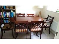 Dark extending table plus 6 chairs