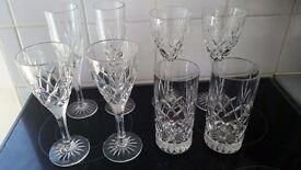 2 person cut glass set of 8 glasses - 2 white wine, 2 red wine, 2 hi ball, 2 champagne glasses