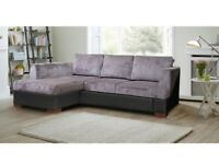 BRAND NEW MADEIRA CORNER SOFA BED WITH STORAGE - SETTEE IN BLACK GREY BROWN MINK FABRIC SOFABED
