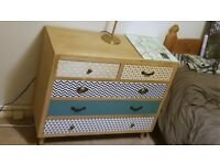 Mint condition chest of drawers from Achica. 5 drawers, perfect for bedside table or dresser.