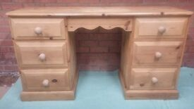 Solid Pine 6 Drawer Dressing Table