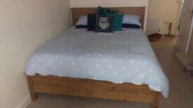 King size wooden bed + mattress
