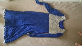 Brand new asian dress suit royal blue with silver embroidary