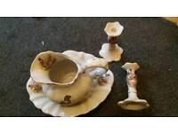 Pheasant jug, wash bowl and Candle sticks