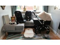 OFF WHITE BUGABOO CAMELEON3 PRAM + MAXI COSI CAR SEAT & MANY EXTRAS-RRP£1175.00