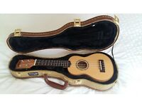 Kala KA-FMS Soprano Ukulele Spalted Maple b/s Solid Spruce Top Pluss Stagg hard case