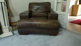 Brown Real leather single seet