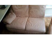 7 Seat L Shape Peach Leather Sofa