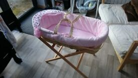 Pink good condition Moses Basket